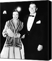 1950s Fashion Canvas Prints - Ronald And Nancy Reagan Attended Canvas Print by Everett