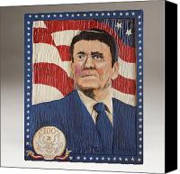 Folk Art Woodcarving Reliefs Canvas Prints - Ronald Reagan Centennial Celebration Canvas Print by James Neill