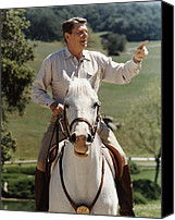 United States Mixed Media Canvas Prints - Ronald Reagan On Horseback  Canvas Print by War Is Hell Store
