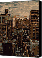 Rooftop View In New York Canvas Prints - Rooftop Color 6 Canvas Print by Scott Kelley