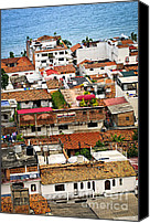 Old Town Canvas Prints - Rooftops in Puerto Vallarta Mexico Canvas Print by Elena Elisseeva