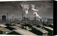 Responsibility Canvas Prints - Rooftops With A Factory In Background Canvas Print by John Short