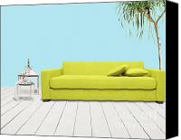 Wood Mixed Media Canvas Prints - Room With Green Sofa Canvas Print by Atiketta Sangasaeng