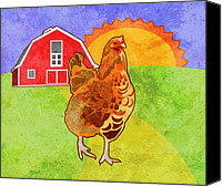 Barn Digital Art Canvas Prints - Rooster Canvas Print by Mary Ogle