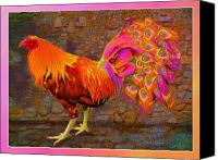 Cross Breed Canvas Prints - Rooster Peacock Canvas Print by John Breen