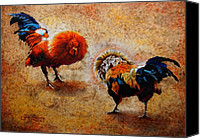 Handmade Paper Canvas Prints - Roosters  Scene Canvas Print by Juan Jose Espinoza