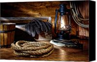 Oil Lamp Canvas Prints - Rope in the Ranch Barn Canvas Print by Olivier Le Queinec