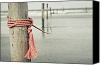 Wooden Post Canvas Prints - Rope In Wind On Coast Of  German Island Norderney Canvas Print by Jakob Tertel