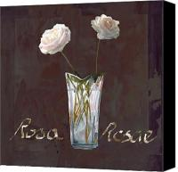 White Rose Canvas Prints - Rosa Rosae Canvas Print by Guido Borelli
