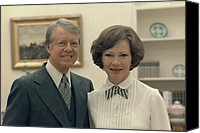 D.c. Canvas Prints - Rosalynn Carter And Jimmy Carter Canvas Print by Everett