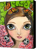 Jasmine Painting Canvas Prints - Rose Amongst the Butterflies Canvas Print by Jaz Higgins