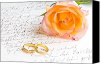 Engagement Photo Canvas Prints - Rose and two rings over handwritten letter Canvas Print by Ulrich Schade
