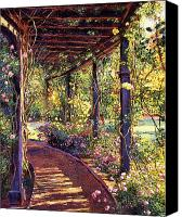 Impressionist Canvas Prints - Rose Arbor Toluca Lake Canvas Print by David Lloyd Glover