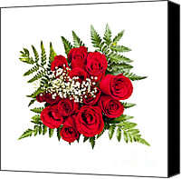 Red Crimson Canvas Prints - Rose bouquet from above Canvas Print by Elena Elisseeva