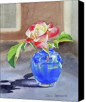 Fence. Original Canvas Prints - Rose in the Blue Vase I Canvas Print by Irina Sztukowski