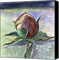 Flora Drawings Canvas Prints - Rose in the Snow Canvas Print by Mindy Newman