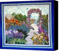 Quilting Tapestries - Textiles Canvas Prints - Rose Trellis Garden Canvas Print by Sarah Hornsby