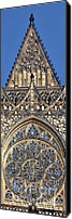 Christian Sacred Canvas Prints - Rose Window - Exterior of St Vitus Cathedral Prague Castle Canvas Print by Christine Till