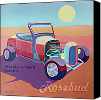 Ford Digital Art Canvas Prints - Rosebud Model T Roadster Canvas Print by Evie Cook