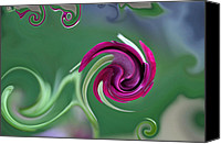 Digitally Altered Floral Photo Canvas Prints - Rosebud Swirls Canvas Print by Teresa Blanton
