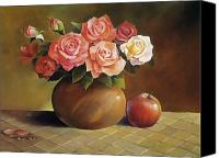 Bud Painting Canvas Prints - Roses and Apple Canvas Print by Han Choi - Printscapes