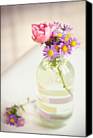 Aster Canvas Prints - Roses And Aster In Glass Bottle Canvas Print by Helena Schaeder Sderberg