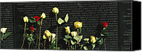 War Monuments And Shrines Canvas Prints - Roses Are Left At The Vietnam Veterans Canvas Print by Richard Nowitz