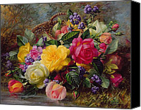 Blooms Painting Canvas Prints - Roses by a Pond on a Grassy Bank  Canvas Print by Albert Williams