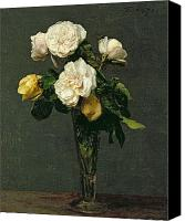 Arrangement Painting Canvas Prints - Roses in a Champagne Flute Canvas Print by Ignace Henri Jean Fantin-Latour