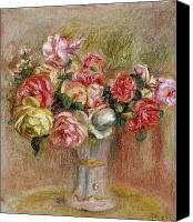 1919 Canvas Prints - Roses in a Sevres Vase Canvas Print by Pierre Auguste Renoir