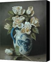 Blue And White Porcelain Canvas Prints - Roses in a Staffordshire Pitcher  Canvas Print by Shelley  Thayer Layton