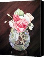 Bud Painting Canvas Prints - Roses in the Glass Vase Canvas Print by Irina Sztukowski