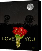 Cities Mixed Media Canvas Prints - Roses Love  You Canvas Print by Eric Kempson