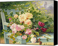 Later Canvas Prints - Roses on the bench  Canvas Print by Eugene Henri Cauchois
