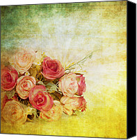 Materials Canvas Prints - Roses Pattern Retro Design Canvas Print by Setsiri Silapasuwanchai