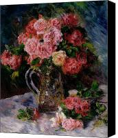Arrangement Painting Canvas Prints - Roses Canvas Print by Pierre Auguste Renoir