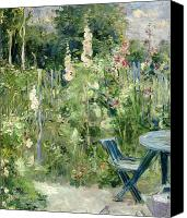 1884 Canvas Prints - Roses Tremieres Canvas Print by Berthe Morisot