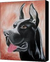 Great Pastels Canvas Prints - Rosie the Great Dane Canvas Print by Arlene  Wright-Correll
