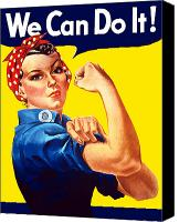 Americana Digital Art Canvas Prints - Rosie The Rivetor Canvas Print by War Is Hell Store