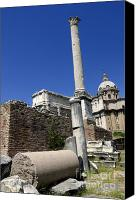 City Scapes Canvas Prints - Rostra. Column of Phocas and Septimius Severus arch in the Roman Forum. Rome Canvas Print by Bernard Jaubert