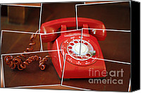 Antique Telephone Canvas Prints - Rotary Canvas Print by Cheryl Young