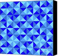 Triangles Digital Art Canvas Prints - Rotated Blue Triangles Canvas Print by Ron Brown