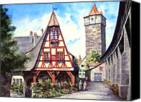 Wall Painting Canvas Prints - Rothenburg Memories Canvas Print by Sam Sidders
