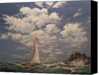 Ocean Scene Canvas Prints - Rough Sailing Canvas Print by Tom Shropshire