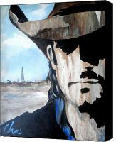 Contemporary Cowboy Canvas Prints - Roughneck Canvas Print by Cheri Stripling