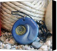 Pendant Jewelry Canvas Prints - Round Blue Pendant with Spiral Canvas Print by Chara Giakoumaki