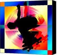 Teenager Tween Silhouette Athlete Hobbies Sports Canvas Prints - Round Peg in Square Hole Skateboarder Canvas Print by Elaine Plesser