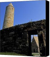Monasticism Canvas Prints - Round Tower And Chapel, Ulster History Canvas Print by The Irish Image Collection