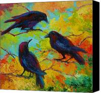 Nature Painting Canvas Prints - Roundtable Discussion - Crows Canvas Print by Marion Rose