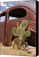 Rusty Digital Art Canvas Prints - Route 66 Cactus Canvas Print by Mike McGlothlen